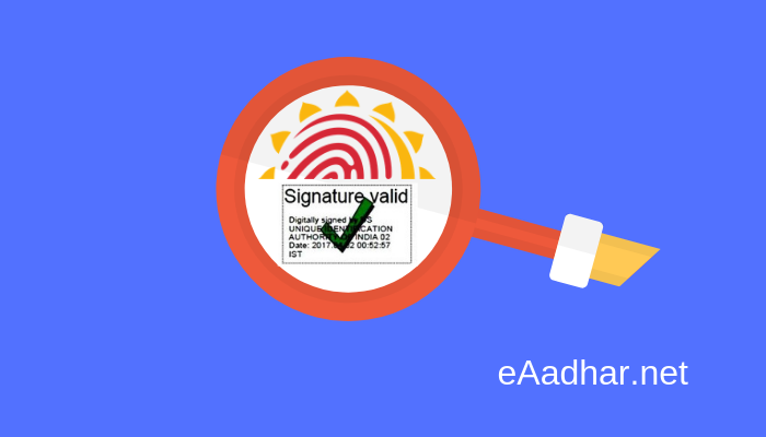 eAadhar Card Signature Verification online
