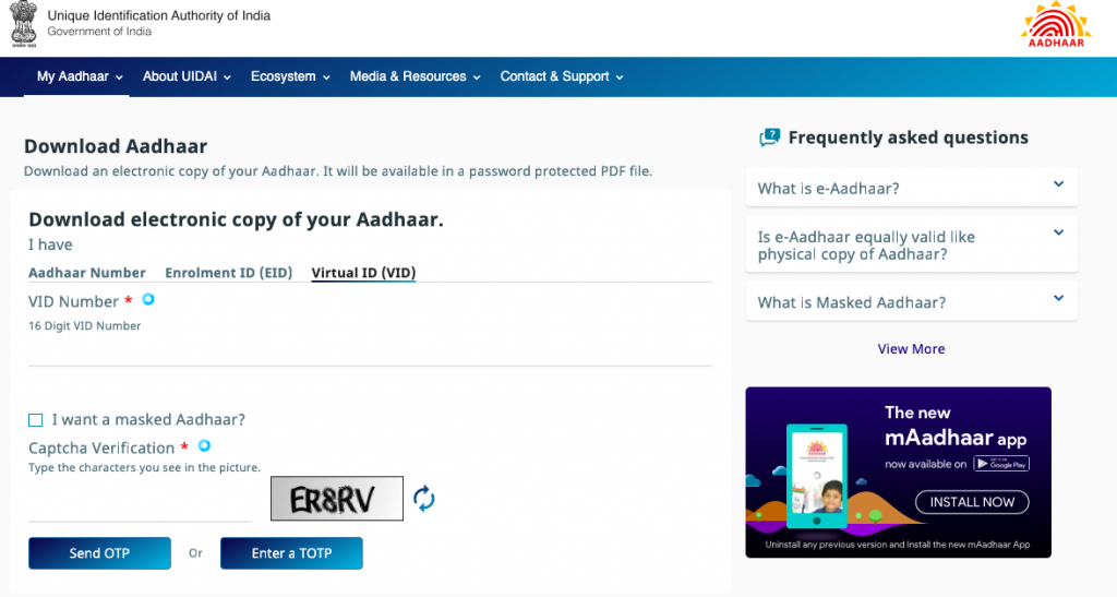 e Aadhaar Card Download
